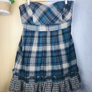 Torrid | strapless plaid ruffle dress